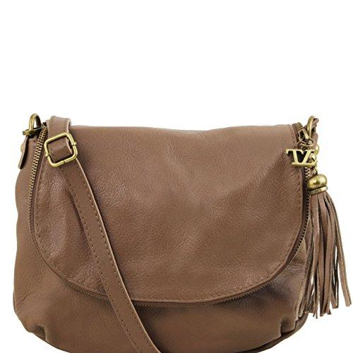 Tuscany Leather TL Bag - Borsa morbida a tracolla con nappa Nero Borse donna a tracolla Talpa scuro
