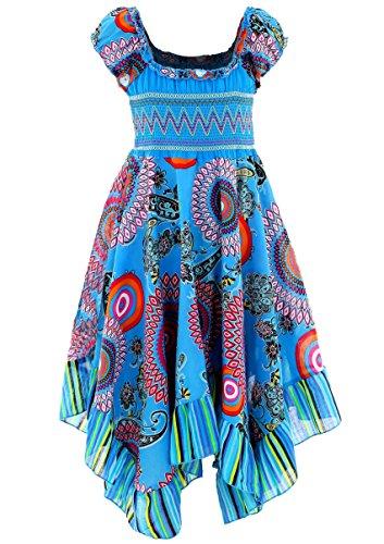 GILLSONZ Neu602vDa Mädchen Kinder Sommer Freizeit Kleid (146/152, Türkis)