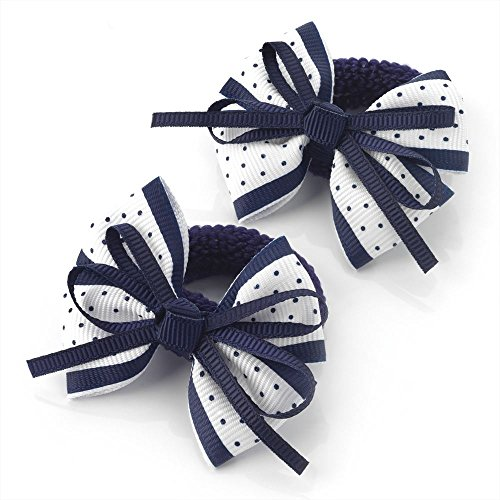 2 x 5.5cm Navy & White Polka Dot Design Bow Hair Ponio Elastics Bobbles Back to School