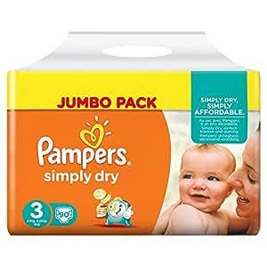 Pampers Simply Dry, 180 Pannolini, Taglia 3 (4-9 kg), 2 confezioni da 90