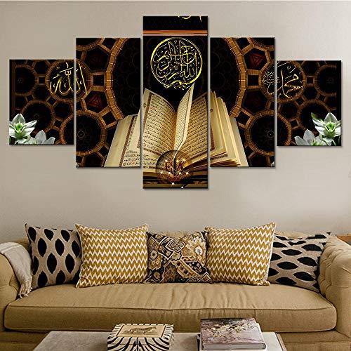 LIVELJ-Möbel 5 TLG Kunstdruck Leinwandbild modern Wand Aufhängen Dekoration Design Wand Bild Abstrakt Natur Design HD XXL Home Leben Poster Islamischer Koran/Rahmenlos