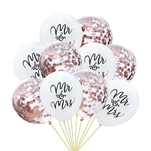 Tumao 10 Stück Mr.& Mrs Latexballon Konfetti Luftballons, Ideal für Hochzeit, Junggesellinnen-Abschied, Hen Party, Hochzeits-Deko. (Roségold)