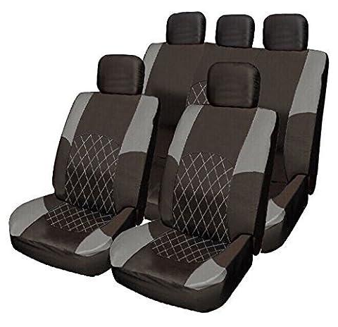 Opel Vauxhall Insignia Meriva Mokka GREY & BLACK Cloth Seat Cover Set Split Rear Seat