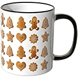 Wandkings® Tasse, Motiv: Lebkuchenmännchen, Glocken, Tannenbäume, Schneeflocken - SCHWARZ