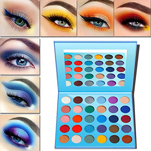 Lidschatten Palette Matt & Glitter,Eyeshadow Palette Afflano 30 Colors-Blue Pink Nude Red Rose Peach Braun Grün Gelb Lila,Matte Shimmer Creme Vegan Eye Shadow Rainbow Augenpalette Lidschatten Make-up