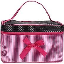 Bolsa de cosméticos, rawdah rayas cuadrado bolsa de maquillaje cepillo cosméticos