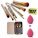 Generic Makeup Brush Set of 12 with storage box + 2 sponge puff