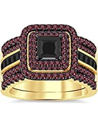 Silvernshine Enhancer Ring Guard & Engagement Ring Set Yellow Gold Plated Red Garnet Sim Diamonds