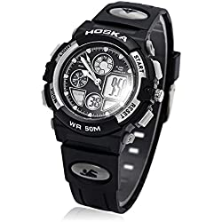Leopard Shop HOSKA H003S Multifunctional Digital Wristwatch Quartz Children Sport Watch Chronograph Calendar Alarm EL Backlight Water Resistance White Black