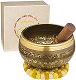 Bol chantant XXL, 800g,16cm, lot comprenant un grand bol tibétain avec maillet et coussin pour bol chantant, dans un coffret cadeau en papier Lokta. Bol chantant tibétain.