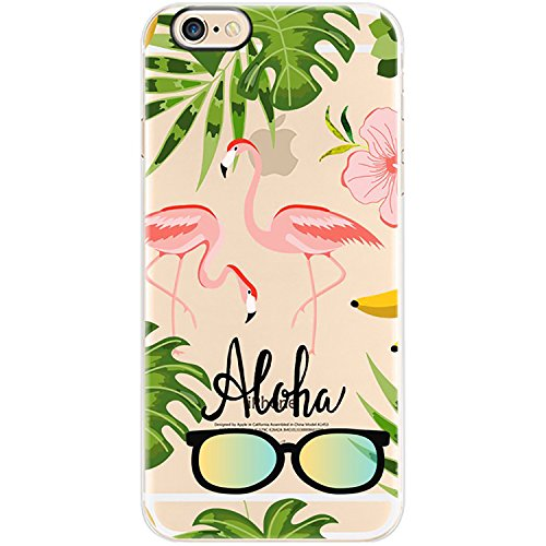 TheSmartGuard Hülle kompatibel für iPhone 8/7 | transparente Schutzhülle aus Silikon | Flamingo Aloha Sonnenbrille Aufdruck/Motiv