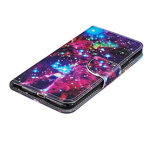 """Rabat Style Portefeuille Apple iPhone 7 Plus 5.5"""" Coque Protection Anti Choc, Carte Titulaire PU Cuir Poids léger Case Cover, Ciel étoilé Motif Violet"""