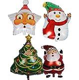 Lumanuby 1 Set Ballon Aluminum film Material Luftballon Thema des Weihnachten und Neujahr Bunte Ballons Festival Wohnaccessoires Weihnachtsmann, Weihnachtsbaum und Schneemann Form Design Festival Wohn
