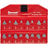 Starrett S167AZ Radius Gauge Set - Inch Without Holder, Satin Finish, 1/32 - 17/64 Range, 1/64 Increment, 16 Gauges