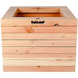 Macetero cuadrado de madera de alerce, mediano, 48cm x 48cm x 35cm