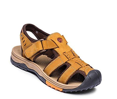 Gaorui Herren Jungen Sport- & Outdoorschuhe Sandalen mit Kletteverschluss, khaki kaffeebraun Gr. 38 bis 42