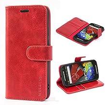 Funda Motorola Moto G 2 (2. Generacion, 2014), MULBESS Funda Piel PU, Soporte Plegable, Ranuras para Tarjetas y Billetes, Estilo Libro, Acceso a Botones, Cierre Magnético - Vino Rojo