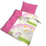 Einhorn Fein Biber Babybettwäsche Kinderbettwäsche Mädchen ☆ MAGIC DREAM STARS ☆ Unicorn & Sterne in rosa pink - 100 % Baumwolle - Kissenbezug 40x60 + Bettbezug 100x135 cm - hergestellt in Deutschland
