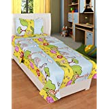 BSB Trendz Like Cotton Sky Blue And Yellow Clour With Junglee Print Single Bedsheet Special For Kids Or Baby With 1 Pillow Cover GSM-150 To 180, TC-180 Size-90x60 Inches Pillow Size-17x27 Inches