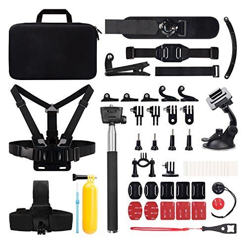 Victure Action Kamera Zubehör Set, 50 in 1 Sport-Kamera Zubehör Kit mit Tragetasche schwarz