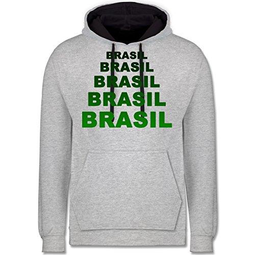 Länder - Brasil Fanshirt - Kontrast Hoodie Grau meliert/Dunkelblau