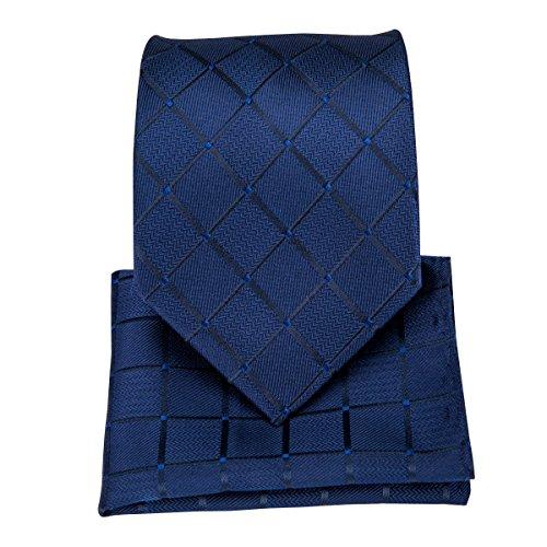 DiBanGu – Business-Krawatten-Set aus gewebter Seide, bestehend aus Herrenkrawatte, Einstecktuch, Manschettenknöpfen und Krawattennadel Gr. Einheitsgröße, navy