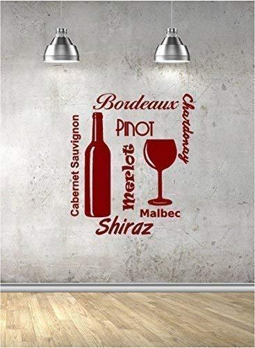 Online Design Vinyl Wand Sticker Wein Word Cloud (Restaurant, Küche) - Gold Cloud-wein