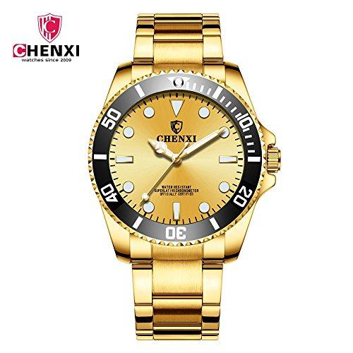 Samuel Nico Schöne ChenXi Uhr 2018 Morgendämmerung Uhr Neue Gold Uhr IP Plating Herren Wasserdichte Uhr 085A Voll Gold IPG (Color : 2)