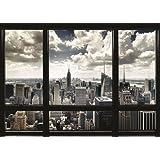 "Póster New York Skyline ""Panorama a través de una ventana"" (140cm x 100cm) + 1 póster sorpresa de regalo"