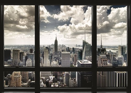 New York Poster Skyline Fenster (140cm x 100cm) + Original tesa Powerstrips®...