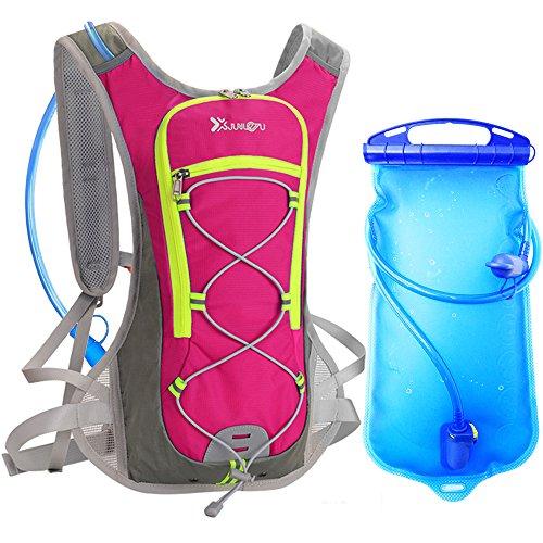 Trinkrucksack mit 1.5L Trinkblase, DeFe Ultralight Laufrucksack mit Trinksystem für Radsport, Laufen, Joggen, Wandern, Radfahren, Camping, Bergsteigen und Marathon (Rot)