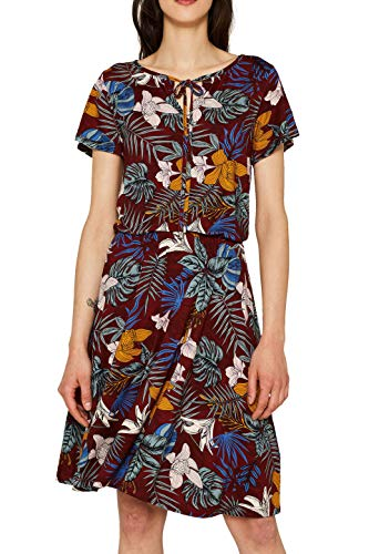 ESPRIT Damen 059EE1E002 Kleid, Rot (Bordeaux RED 600), Large (Herstellergröße:L) - Floral Print Sommer Kleid