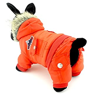 Zunea Padded Waterproof Small Dog Cat Winter Jumpsuit Pet Puppy Jacket Coat Fleece Warm Snowsuit Airman Chihuahua Yorkie Outfits Clothes Apparel Red XL