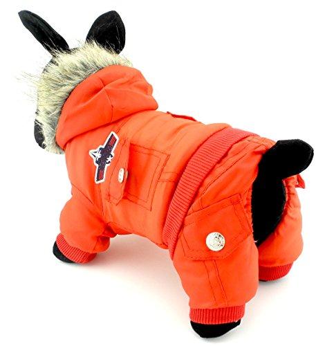 Zunea, Overall mit Kapuze für Hunde, mit Fleece, wasserdichter Schneeanzug (fällt klein aus, bitte eine Größe größer bestellen) Rot M (Mens Anzug Christmas)