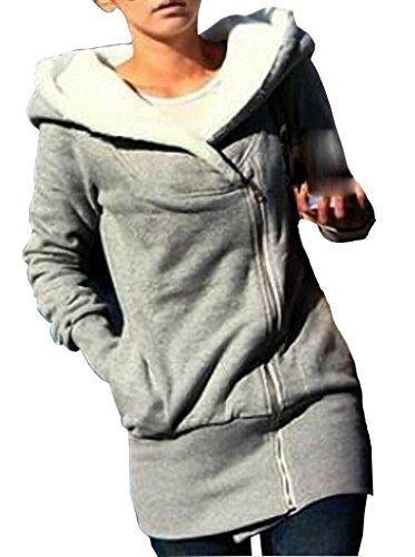 l'atteggiamento migliore 7931d 457cd Minetom Sweatshirt Maniche Lunghe Con Cappuccio Felpa - Donna Cerniera  Hoody ( Grigio IT 42 )