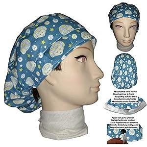 Chirurgische Kappe. Frau Igel für lange Haare, Chirurgie, Zahnarzt, Tierarzt, Küche usw. Handtuch vorne, perfekte Passform und passt alle Haare. Handmade
