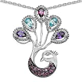 Jewelry-Schmidt-Collier / Necklace Peacock of amethyst, blue topaz, rhodolite, topaz