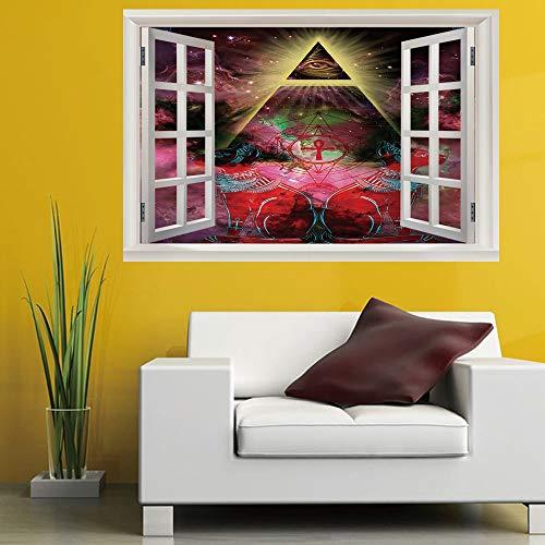 Leoljc Eye Of Providence 3D Gefälschte Fenster Landschaft Wandaufkleber Schlafzimmer Kinderzimmer Büro Diy Abnehmbare (50X70 Cm)