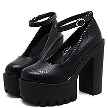 Minetom Mujer Moda Zapatos de Tacón Correa Tobillo Tacones Gruesos plataforma Tacones Altos Zapatillas