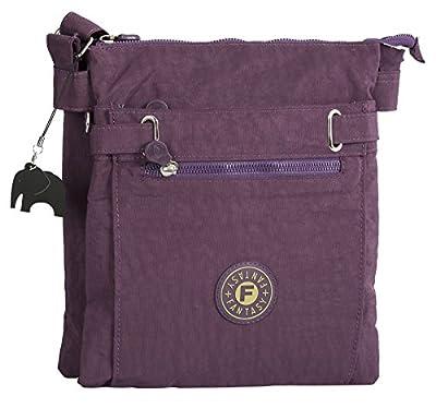 Big Handbag Shop Lightweight Fabric Multi Zip Compartment Messenger Crossbody Shoulder Bag with Elephant Charm
