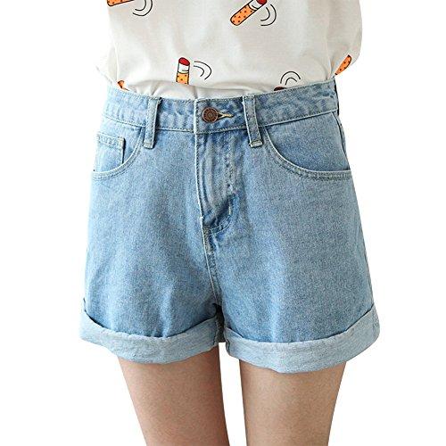 Damen Jeans Shorts Sommer High Waist Vintage Hotpants Elegant Baumwolle Stretch Freizeit Kurze Hose Mädchen (High Waist Shorts Für Mädchen)