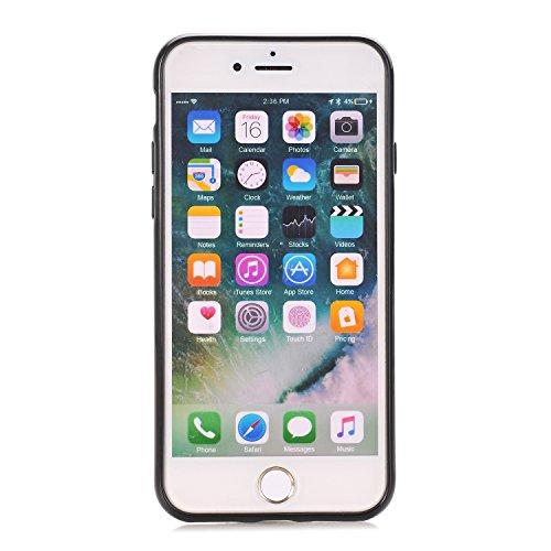 iPhone 7 Coque Véhicule Monté avec Anneau Kickstand, Voguecase Antichoc TPU avec Absorption de Choc, Etui Silicone Souple, Légère / Ajustement Parfait Coquille Shell Housse Cover Étui pour Apple iPhon Noir