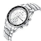 SONGDU Herren Quarz Unisex Armbanduhr mit Mode Silber Edelstahl-Armband Wasserdicht, Chronograph Analog Kalender Datum Leuchtend Ziffer Weiß Zeiger
