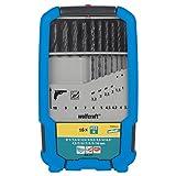 Wolfcraft 7103000 7103000-16 Brocas Espiral HSS, Laminado por Rodillo Compuesto de diam. 1,0-1,5-2,0-2,5-3,0-3,2-3,5-4,0-4,2-4,5-5,0-6,0-7,0-8,0-9,0-10,0 mm en Caja Plegable de plástico 2k, Set de 16 Piezas