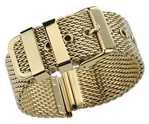 18mm Gold hervorragende Mesh Armband Ersatz für Uhren massiven Edelstahl Milanese Uhr Gürtel