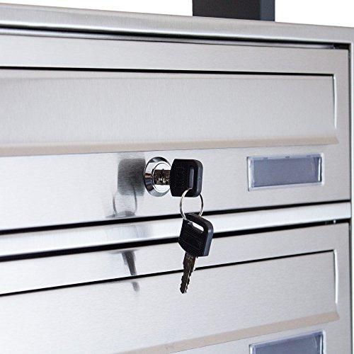BITUXX® Design Edelstahl Doppel Stand-Briefkastenanlage Postkasten Letterbox Mailbox mit 10 Fächer und Dunkelgrauen Standrohren - 6