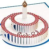PrimePopUp® 3D Geburtstagskarte, Torte mit Kerze, Pop up Karte, Glückwunschkarte Geburtstag, Grußkarte, Geschenkkarte als Gutschein oder für Geldgeschenk, Happy Birthday Card
