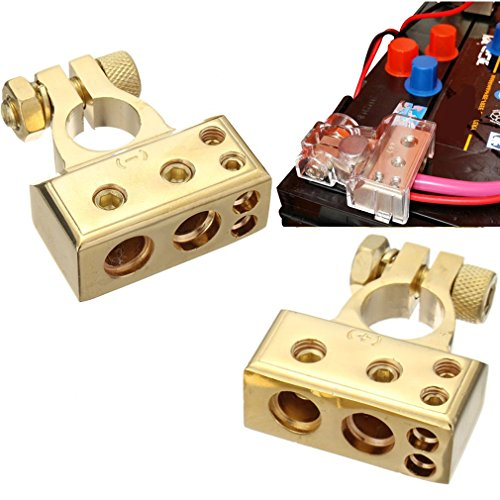 Positiv Wie (Qiorange 1 Paar 4/8 Awg Batterieklemme Positiv und Negativ Battery Terminal Autobatterie Klemmen (Type B Set Gold))