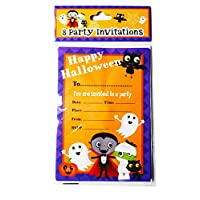 Halloween Invitations Party Invites Kids Childrens 8 Pack Envelopes Cute Spooky