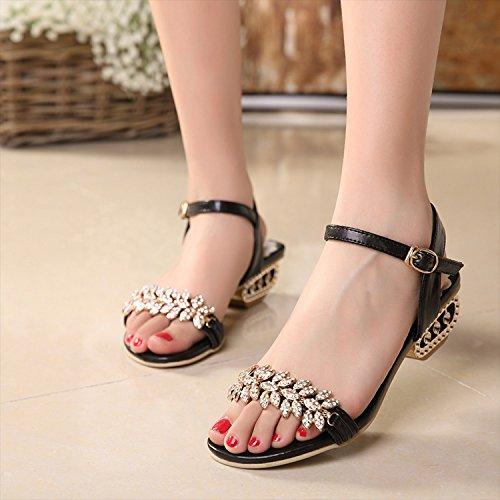 Lgk & fa estate sandali strass sandali da donna, tacco a punta e tallone cristallo sandali tacco, 40 gold 40 black